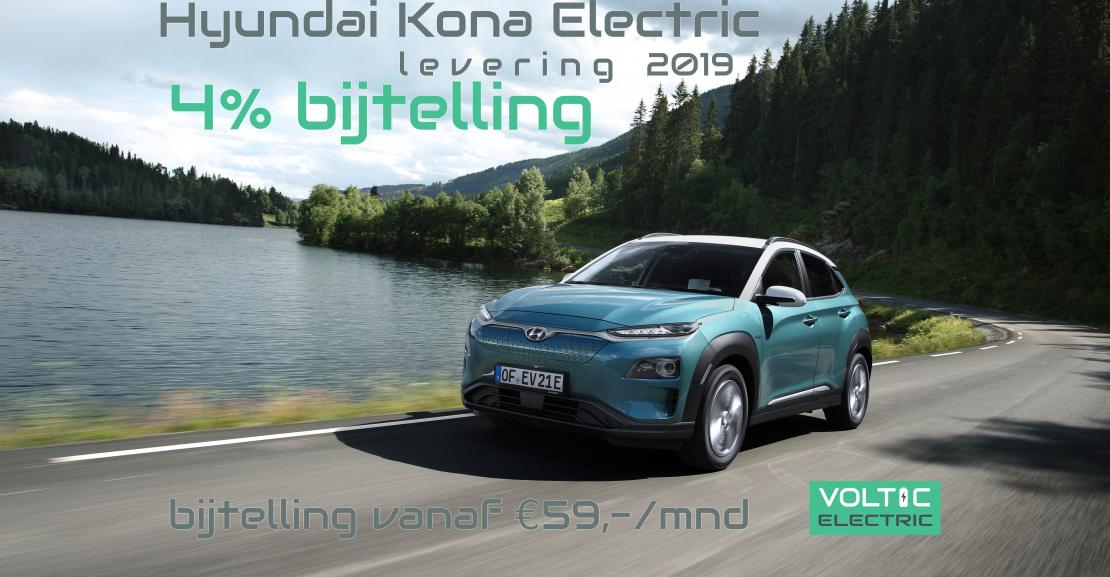 hyundai kona electric 4% bijtelling levering 2019
